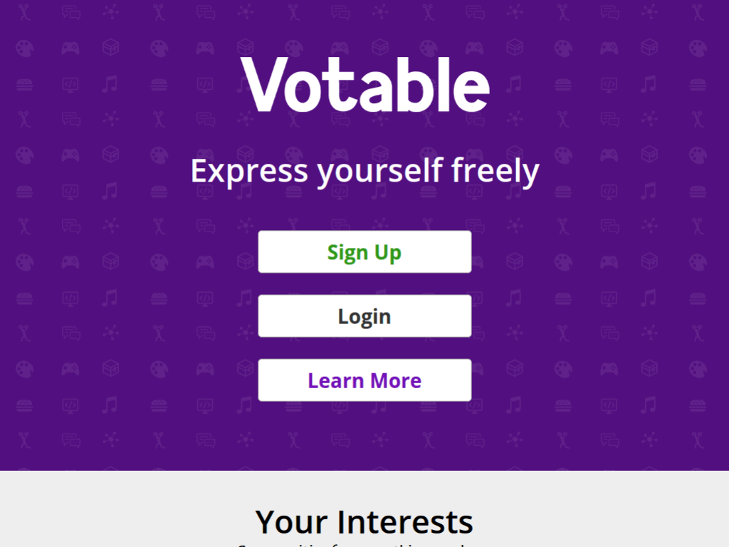 Homepage screenshot of Votable