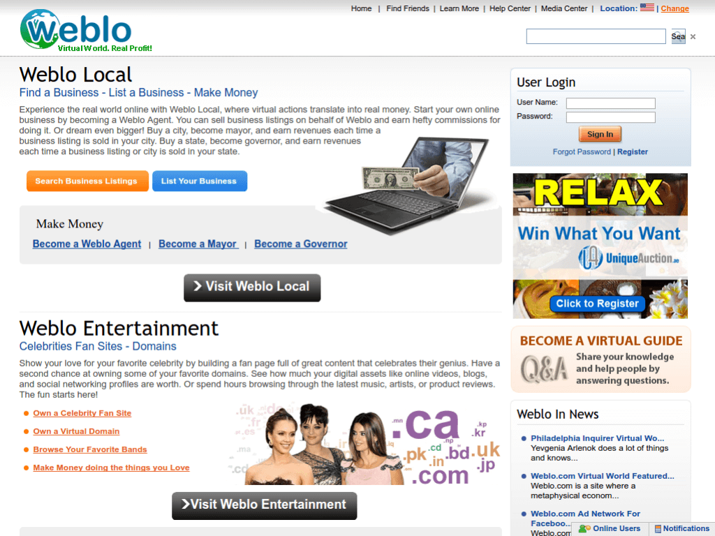 Homepage screenshot of Weblo
