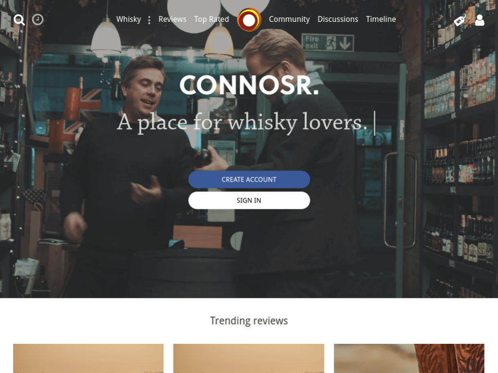 Homepage screenshot of Whiskey Connoisseur