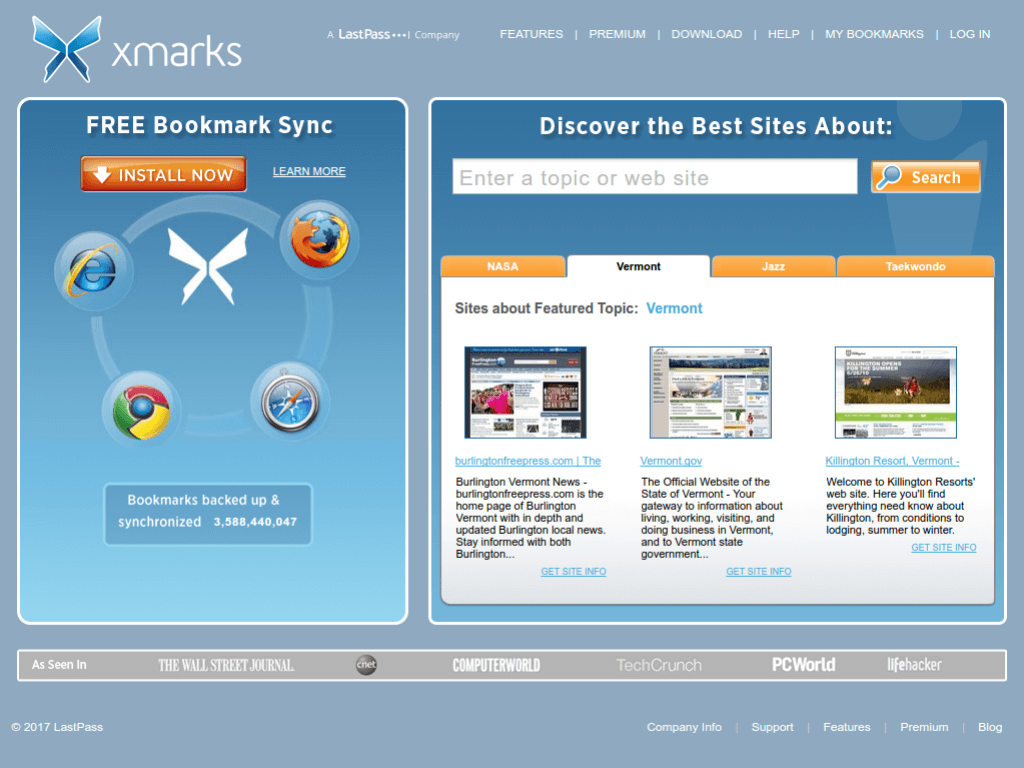 Homepage screenshot of X Marks