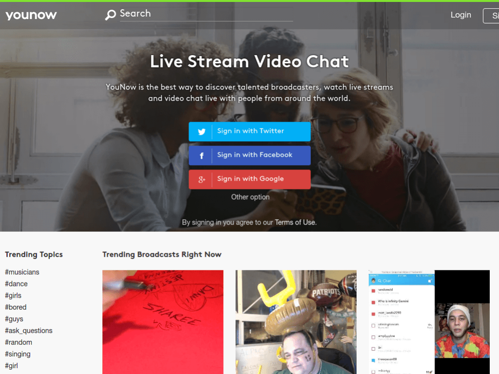 Homepage screenshot of YouNow